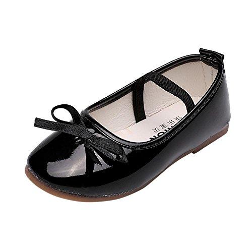 Doublehero Baby Mädchen Bowknot Schuhe, Mode Kinder Ballerina Prinzessin Casual Flache Schuhe Wave Sneaker Plate Freizeitschuhe Seitenplatte Freizeitschuhe Schuhe Babyschuhe (29/EU:28, Schwarz)