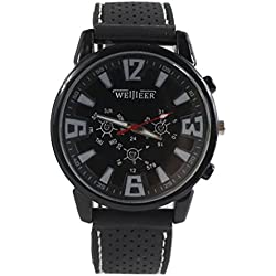 Gullor Weijieer Unisex Classic Juding Analog Large Digital Scale Wrist Watches with TPU Rubber Band - Black