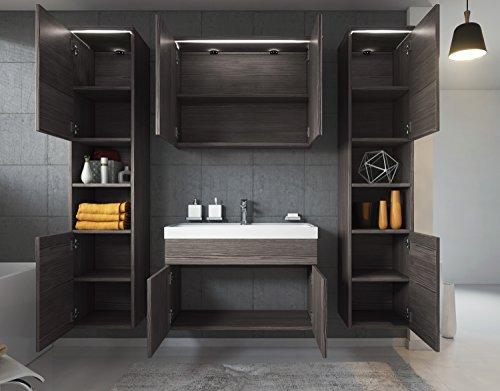 Badezimmer Badmöbel Set Paso XL LED 80 cm Waschbecken Bodega (Grau) – Unterschrank 2X Hochschrank