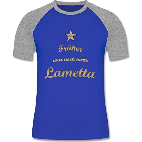 Weihnachten & Silvester - Früher war noch mehr Lametta - zweifarbiges Baseballshirt für Männer Royalblau/Grau meliert
