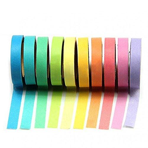 10PCS 5m Multicolor Sticky Papier Rolle Kassetten SET selbst Sticky Papier Klebeband Collection für Zeitschriften, Alben, tägliche Planer, Handy diy, Geschenkverpackungen Büro Party Supplies M multi