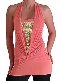 Bella Slinky Stretch Glitzer Nackenhalter Fashion Top Cream, Größe: Large / X-Large