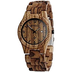 Wood Watch, Hansee Men's Watches by Bewell, Analog Quartz Movement Day Display Vintage Wooden Watch (A)