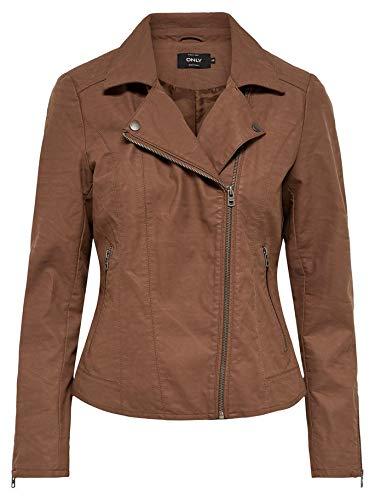 ONLY Damen Bikerjacke Kunstlederjacke Übergangsjacke Damenjacke (36, Cognac)