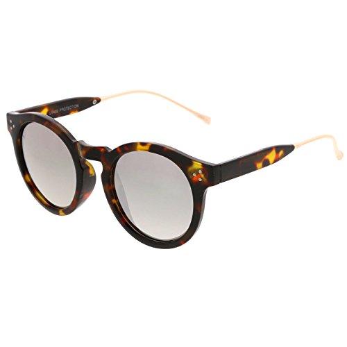 sunglassLA -  Occhiali da sole  - Rotondo - Uomo Tortoise-Gold / Silver Mirror Taglia unica