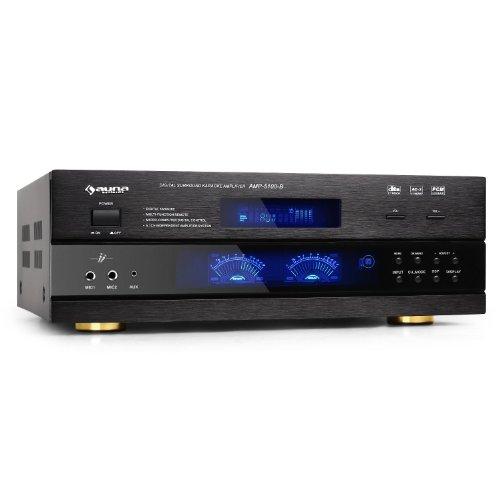 auna AMP-5100 amplificatore Hi Fi (1200 Watt di potenza, ingressi RCA per collegare dispositivi esterni, telecomando incluso, caratteristiche tecniche avanzate) - nero