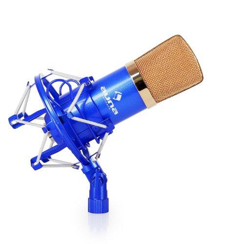 Auna CM001BG Micrófono condensador de estudio XLR (Estuche transporte, protector antiviento, micro profesional, alta sensibilidad, ideal grabación, azul/oro)