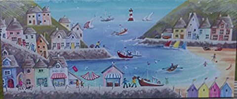 HOLIDAY SEASIDE BEACH HUTS CANVAS WALL ART