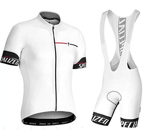 Fleece-trägerhose (AQWWHY Radfahren Jersey Anzug Männer Kurzarm Fahrradbekleidung Set Sommer + Atmungsaktiv Gepolsterte Trägerhose)