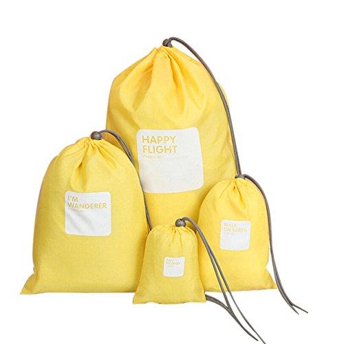 Festnight 4 teilige-Set Reise Aufbewahrungsbeutel Wasserdichte Nylon Kordelzug Männer und Frauen Falten Kleidung Verpackung Schuhe Gepäck Lagerung Taschen Beutel (Gelb) -