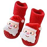 TAOtTAO Kinderkinderschuhbodensocken des Weihnachtskarikaturtierdruckes rutschfeste rutschfeste Neugeborenes Baby-Jungen-Mädchen-Weihnachtsboden-Socken Anti-Rutsch-Baby-Schritt-Socken (A, 13)