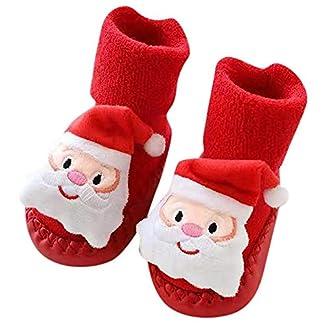 Fossen Disfraz Navidad Bebe Niña Niño Calcetines de Piso Antideslizante – Patrón de Papa Noel Arbol de Navidad Reno