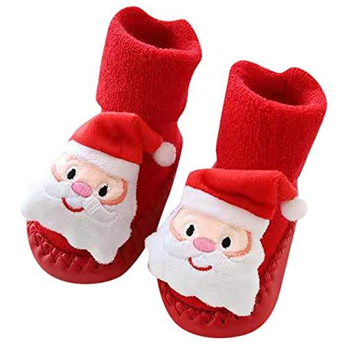 Baby Socken Weihnachten Winter Baumwolle Söckchen,Sunday Neugeborene Kleinkind Jungen Mädchen Krippeschuhe Unisex Dicke Sock Krabbelschuhe -