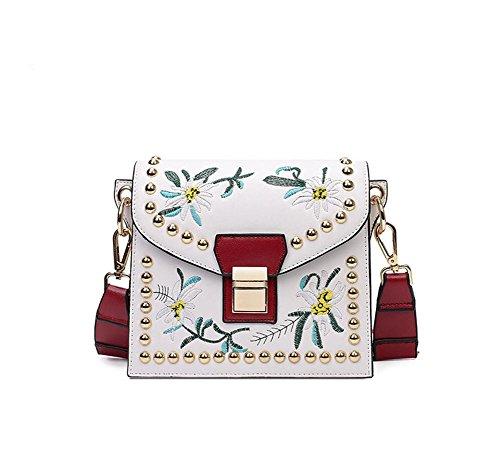 Mjhwsx Borsetta Cuoio Vintage selvaggio spalla borsa Messenger Bag di grande capienza ricamato Tote Bag per le donne e Girl , white