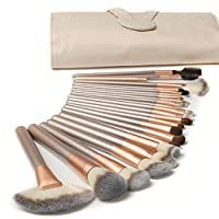 Ammiy®18 Pcs Makeup Brush Set Professional Wood Handle Premium Synthetic Kabuki Foundation Blending Blush Concealer Eye Face Liquid Powder Cream Cosmetics Lip Brush Tool Brushes Kit ( White Cream-colored Case Bag)