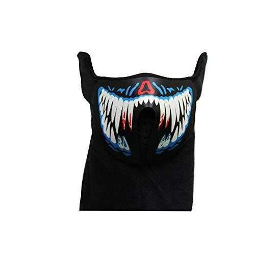 Controlled Sound Luminous Mask Musik LED leuchtet Rave Maske mit EL Ton Actived Flashing Luminous Kühlen Partei-Masken-Halloween-Maske Blau und Weiß Batterie Nicht eingeschlossen