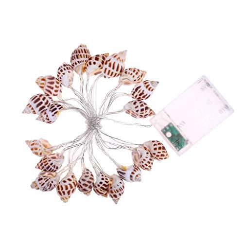 Sea Shell Fairy Lampe Warmweiß Beleuchtung LEDs Schöne Muschelschnur Licht Batteriebetrieben für Urlaub Hochzeit Home Fenster Dekoration (2.3M/20LED) Urlaub Led