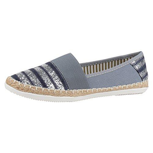 napoli-fashion Bequeme Damen Espadrilles Bast Slipper Metallic Glitzer Flats Blau Blue 39 Jennika