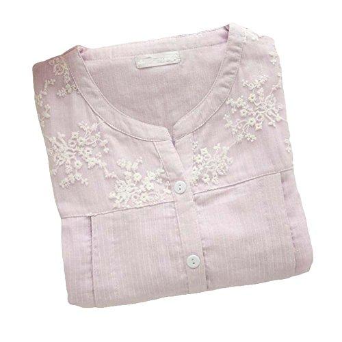 [Lila Spitze] Baumwolle Mutterschaft Nachtwäsche Krankenpflege Pyjamas Set Stillen Pyjamas (Mutterschaft Pyjamas Krankenpflege)