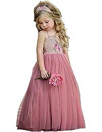 Bebé Vestido Niña Princesa Vestidos Cumpleaños Tul Verano Cabestro Vestido Fiesta Vestido Maxi Vestido Carnaval Noche