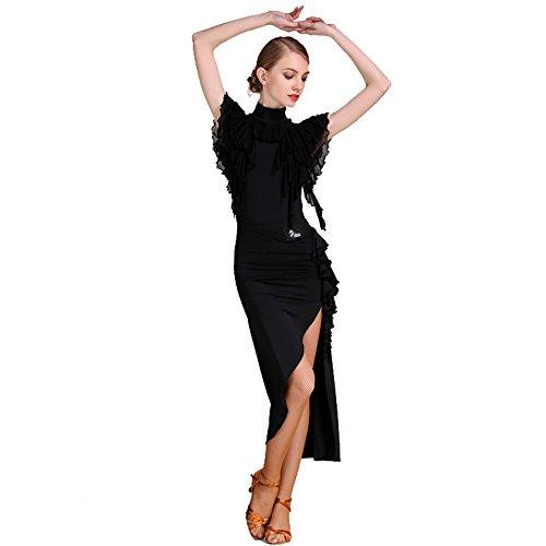 Wanson Frauen Latin Dance Kleid Kostüm Lotus Leaf Ärmel Rock Latin Dance Praxis Kleidung Leistung Rock,S