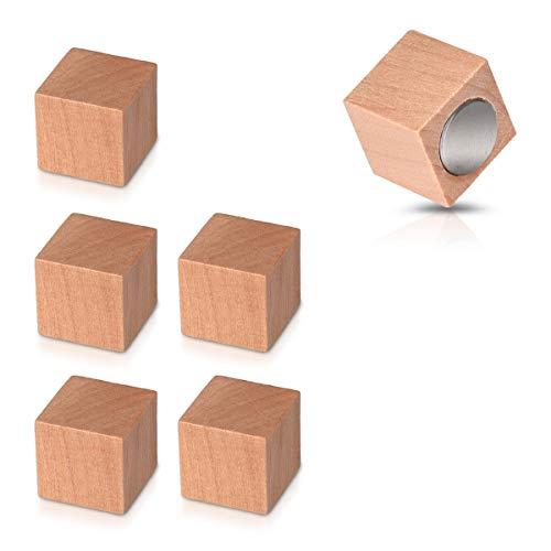 Navaris Holz Magnete Kühlschrank Magnet Set - 6X Kühlschrankmagnete Deko für Küche Magnettafel Whiteboard - Neodym Magneten stark eckig in Braun