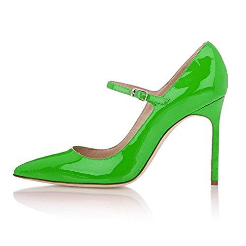 EDEFS - Escarpins Femme - Mary Janes Chaussure - Lanières femme - Talons hauts aiguilles - Bout pointure fermé Vert