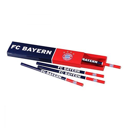 FC Bayern München Bleistift Box mit 4 Bleistiften - Plus gratis Lesezeichen I Love München