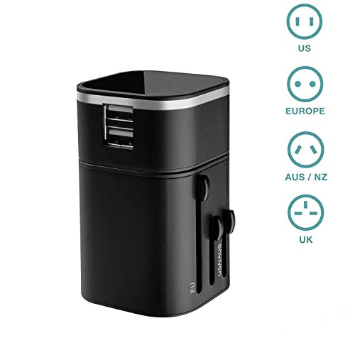 [World Travel Charger] Moobom Universal International Worldwide Travel Adapter with Dual USB Charging Ports [USB 5 V Power Rating 3200mA) for Apple iPod, iPad, Android Phones and Digital Cameras