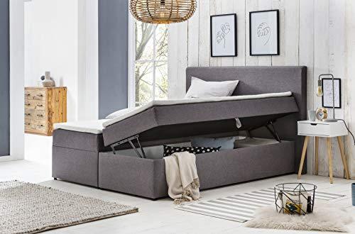 Furniture for Friends Möbelfreude® Bianca | 160x200 cm Hellgrau H2 | mit Bettkasten & hochwertiger Bonell Federkernmatratze | Polsterbett Boxspringbett