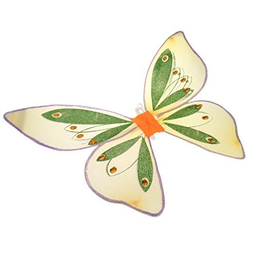 Feen Kostüm Glitzer - MagiDeal Glitzer Schmetterling Flügel - Feen Kostüm Kinder - Glitzer Orange