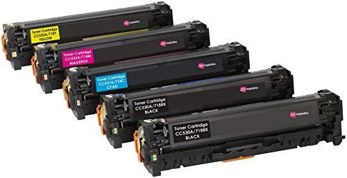 5er Set INK INSPIRATION® Premium Toner kompatibel für HP Laserjet CP2020 CP2025 CM2320 Canon i-SENSYS MF8350Cdn MF8380Cdw MF8330Cdn MF8340Cdn LBP7200Cdn | Schwarz 3.500 Seiten & Color je 2.800 Seiten -