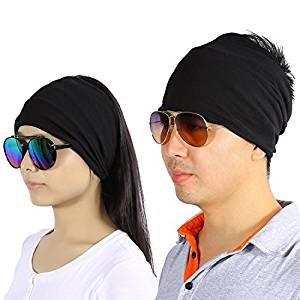 zjchao 2 Stück Baumwolle Stirnband Haarband Feuchtigkeit Wicking Schweißband für Männer Frauen Yoga Lauf Übung Trainieren