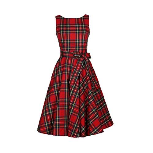 Frühjahr Womens Cap Sleeve T-shirts (OverDose Damen 50s Retro Vintage Rockabilly Kleid Partykleider Cocktailkleider Frauen Sleeveless Abend-Partei-Kleid(A-Rot,EU-36/CN-S))