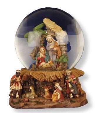 Crèche de Noël–L'Eau Globe avec crèche de Noël Sainte famille & Kings & Lourdes Carte de Prière.