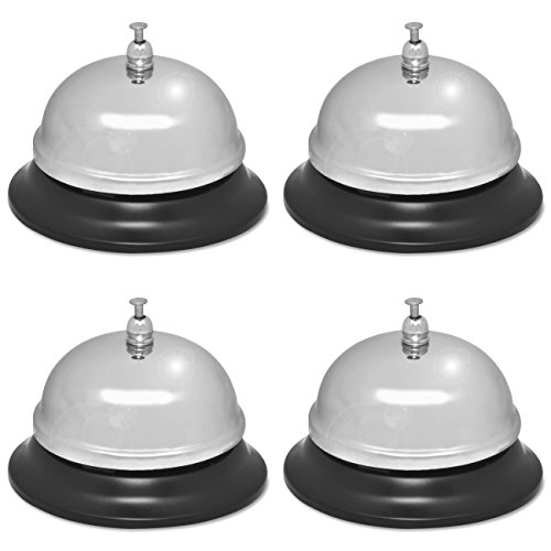Sparco Nickel Plated Call Bell, 2 3/4-Inch High, 3 3/8-Inch Base, Chrome/Black (SPR01583), 4 Packs by Sparco