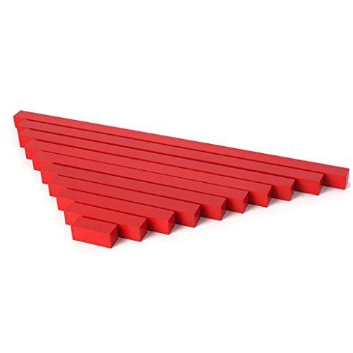 Manyo 10pcs/Set Montessori Barra Long Rojo de Madera, Juguetes de tija de Maths, Juguete Educativo para los niños