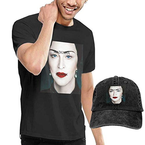 de los Hombres Black Short Sleeve Shirts, Madonna Casual Camiseta + Baseball Ninguno