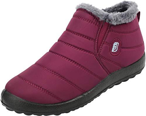 JOINFREE Warme Winterschuhe Wasserdichte Oxford Tuch Schnee Stiefel Outdoor Boots für Frauen Weinrot, 37 EU Warm Schnee