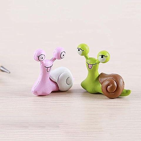 Décoration Miniature Ornement Accessoire Deux Petit Escargots pour Décoration Aquarium Micro-paysage de