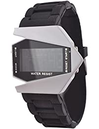 KMS Digital Black Dial Unisex Watch - BlackWhite_Arrow_LED