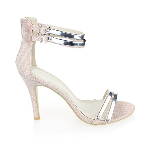 Aarz femmes T-shirts décontractés sandales à talons hauts Prom Party chaussures de mariage Taille (Noir, Argent, Or, Champagne) Champagne