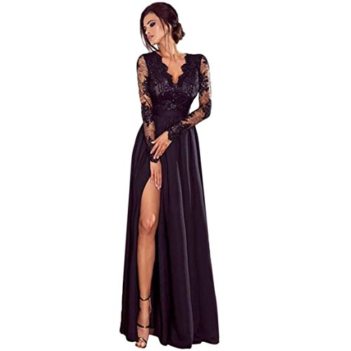 Moonuy Frauen Long Dress Damen Langarm Kleider Tiefem V-Ausschnitt Spitze Abend Party Ball Prom Hochzeit PaSolid Long Zurück Kleid (EU 36 / Asien M, Schwarz)