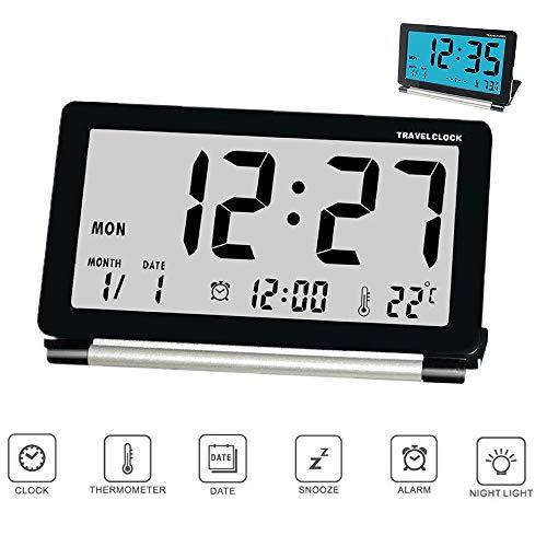 Reveil de Voyage Pliable, Horloge Digital Silencieux Réveil Electronique Grand Écran LCD avec Rétro-éclairage Date Température Affichage Pour Maison Bureau avec Boîtier en Cuir Pu
