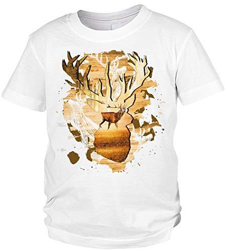 Kinder-Shirt Jäger Motiv/Spruch, Jagdmotiv Hirsch Kind : Hirsch - Jagdsport Kinder T-Shirt Bekleidung Gr: M = 134-140