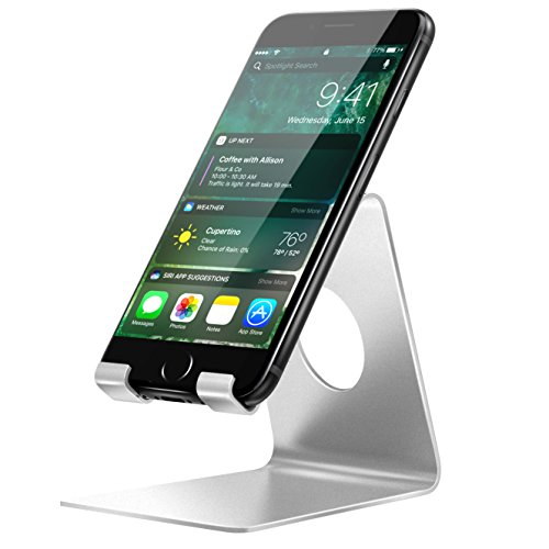 MoKo Support Portable, Socle Dock Station D'accueil Support Stand Aluminium pour Apple iPhone 7 Plus/6s Plus/SE/5s, Samsung Galaxy S7/S7 Edge, Google Nexus 6/5, Samsung Galaxy A5, LG etc., Argent