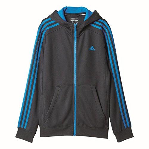 Adidas Essentials Veste à capuche sport enfant 3S capuche zippé pour femme Noir/bleu grau, blau / grey, blue