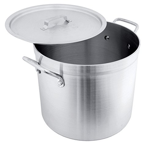Crestware POT16R Aluminum Stock Pot with Lid, 16 quart, Silver 16 Quart Aluminium Stock Pot