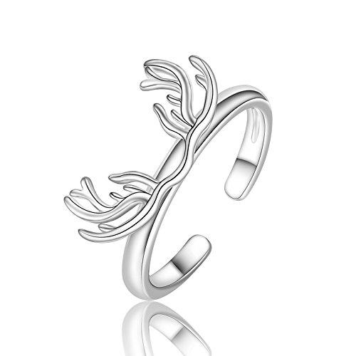 Lizzyoftheflowers-tono de plata Reno ciervo Deer Antler abierto anillo, Reino Unido tamaño N