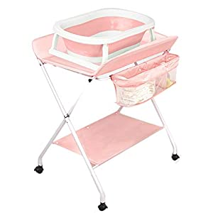 ZAQI Baby Changing Table with Bathtub, Nursery Toddler Dresser Station For Girls Boys, Adjustable Height, Easy To Clean, Load 20 kg (Color : Pink)   15